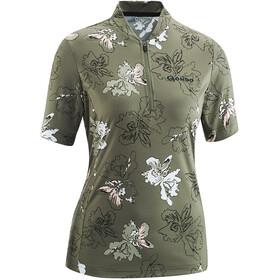 Gonso Bondasca T-shirt de cyclisme avec zip pectoral Femme, brown/olive allover